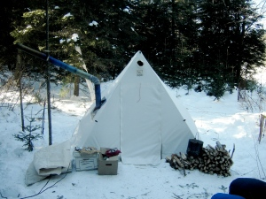 Four Dog stove, winter setup