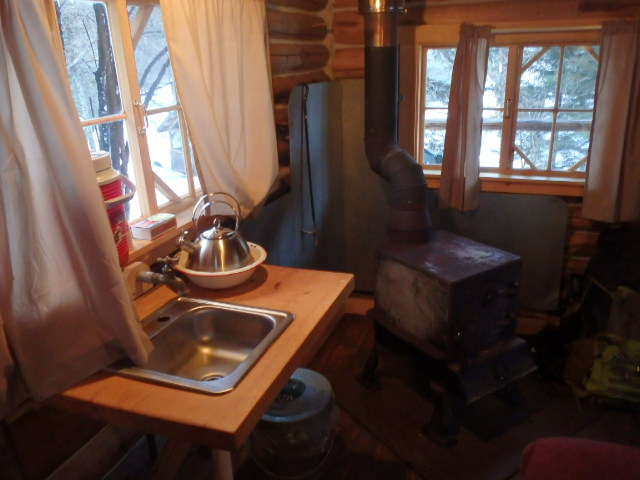 A wood stove and a water basin are just fine