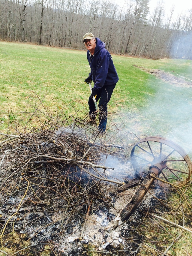 Dave stoking the brush pile