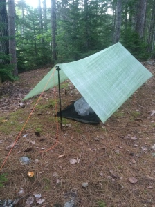 Hiking poles and 7 ounces of fabric make a shelter.