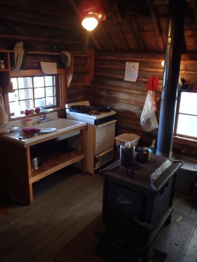 The kitchen and wood stove