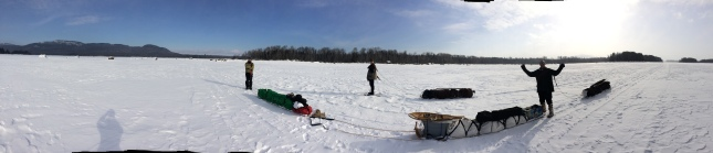 My crew- out on Attean Pond around Jackman, ME-  Hauling a heated tent set up.