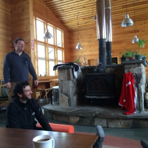 Ian and Buck enjoying the Stratton Hut
