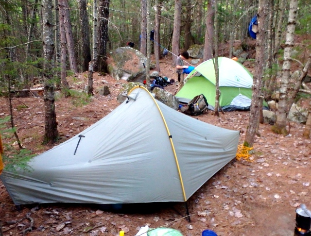 Tarptent and Coleman tent find flat places