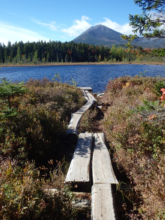 Puncheon path at Martin Pond with Katahdin. From previous day's loop hike.
