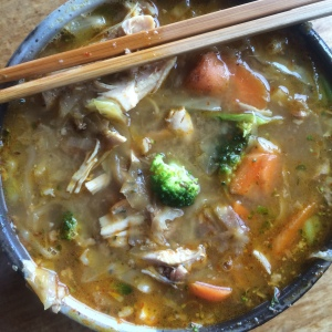 Rich homemade broth with garden carrots and broccoli. Plus kimchi!