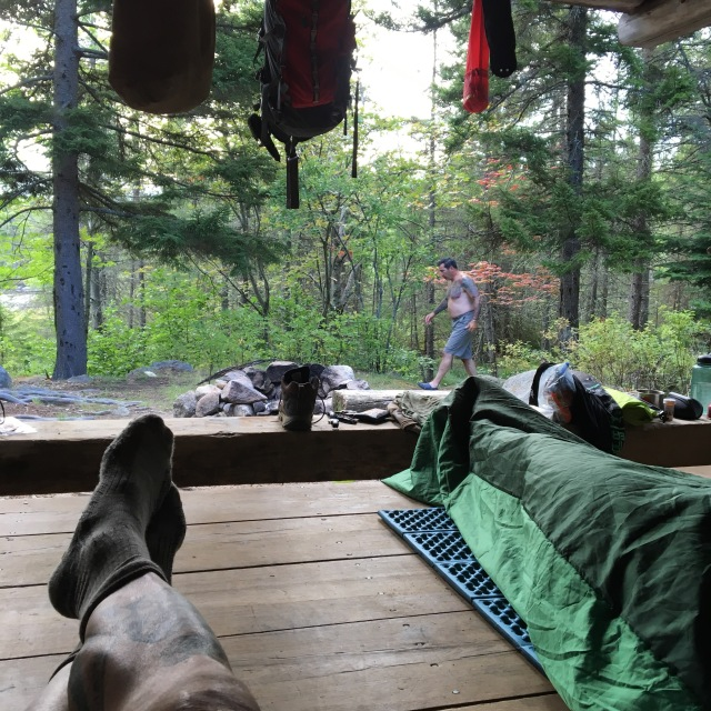 Viewing Russell Pond from the shelter of The Moose Inn ( Lean-to #4)